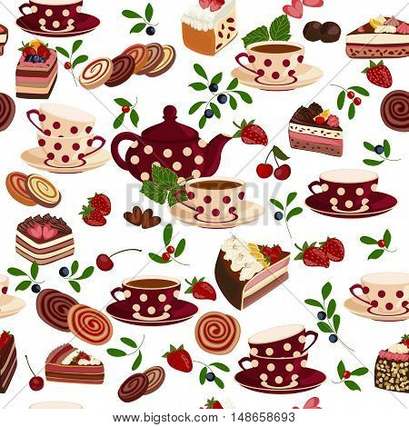 Seamless pattern with teapots, cups, sweets and berries.