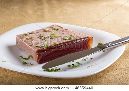 Liver pate on plate made from pork and deer meat on white plate with kitchen knife
