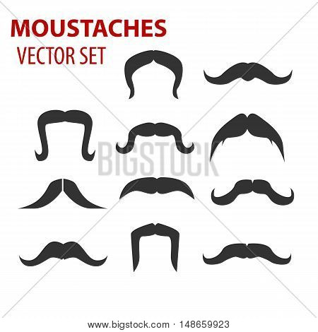 Mustaches vector set, creative illustration isolated on white