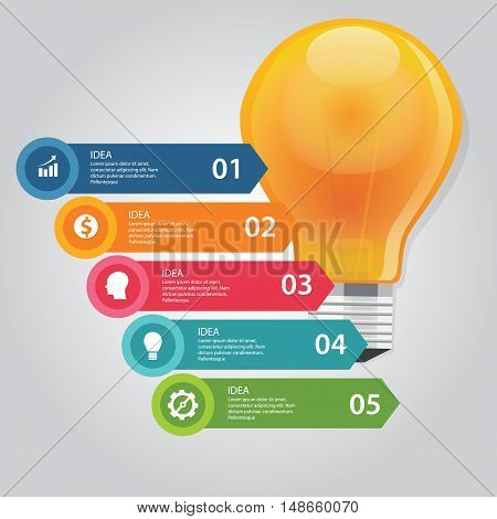 five 5 elements of idea info graphic chart circle vector bulb idea business shine