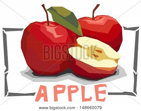 Vector simple illustration of red apples with half in angular cartoon style.