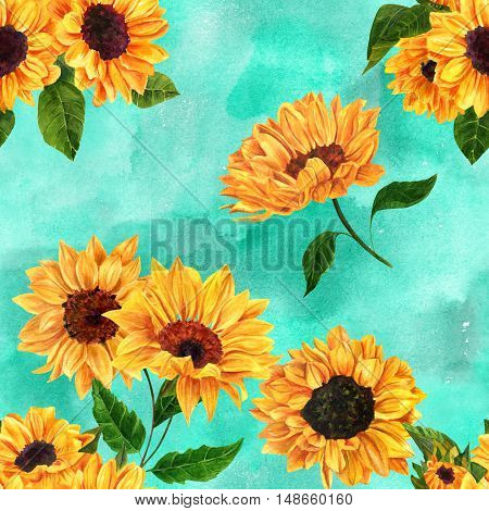 A seamless texture with hand drawn vibrant watercolor sunflowers on a teal blue background