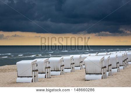 Beach chairs in Zinnowitz (Germany) on the island Usedom.