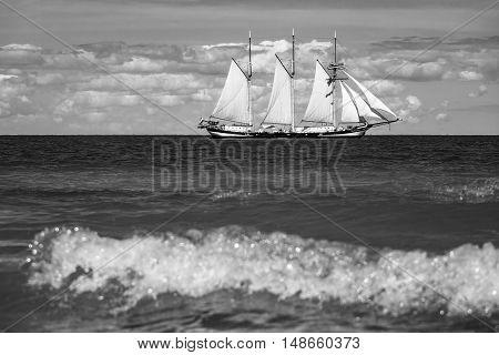 Windjammer auf der Ostsee in Warnemuende (Germany).