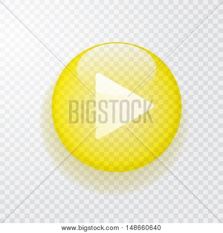 yellow transparent play button with shadow, vector icon