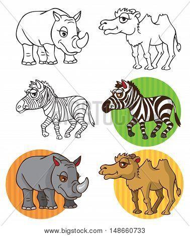 illustration on white background wild animals Zebra camel rhinoceros on the circle