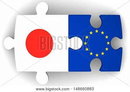 Cooperation between the European Union and Japan. Puzzles with flags of the European Union and Japan on a white surface. The concept of coincidence of interests in geopolitics. Isolated. 3D Illustration