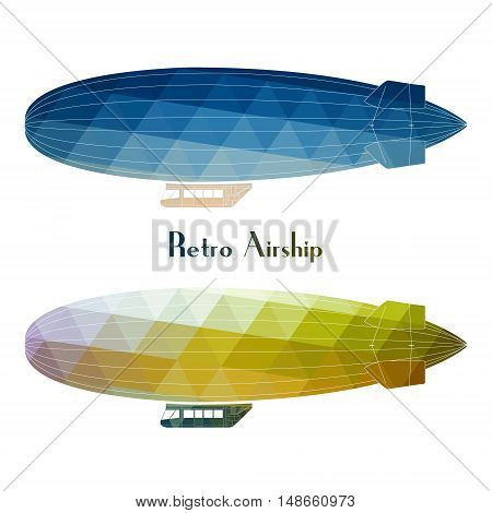 Vector blimp retro aircraft flying with white background. Retro airship dirigible balloon flight flat design side view.
