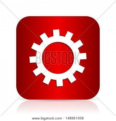 gear red square modern design icon