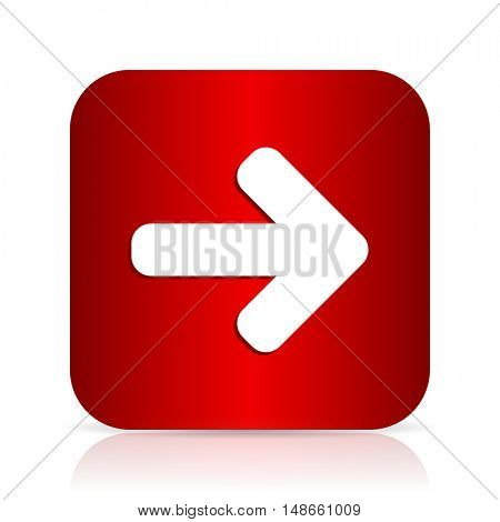 right arrow red square modern design icon