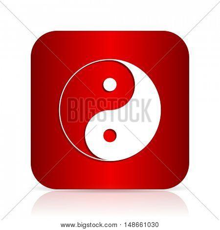 ying yang red square modern design icon