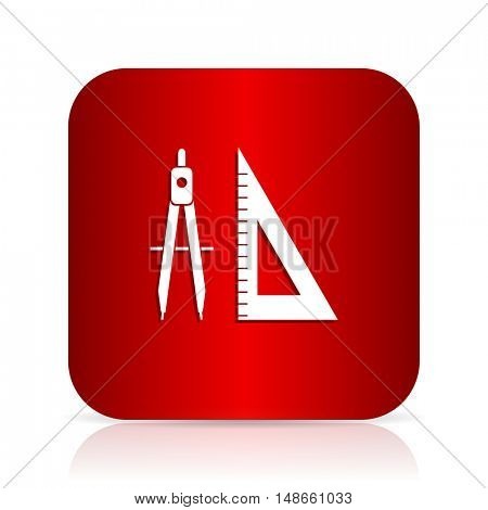 learning red square modern design icon