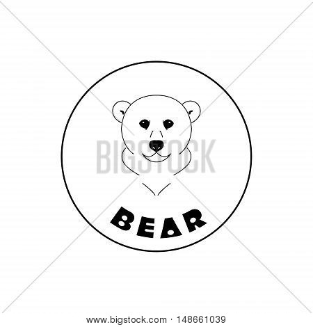 Simple bear face mascot emblem symbols. Can be used for T-shirts print labels badges stickers logotypes vector illustration. Sign a bear - design template