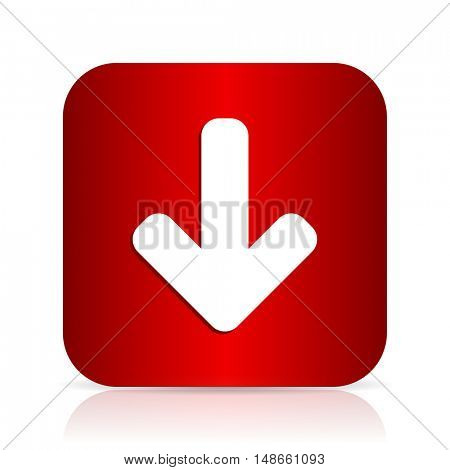 download arrow red square modern design icon