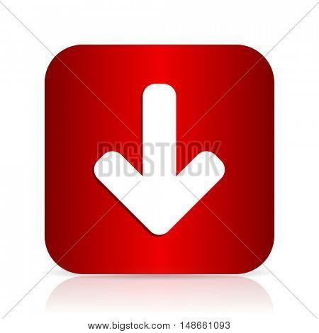download arrow red square modern design icon