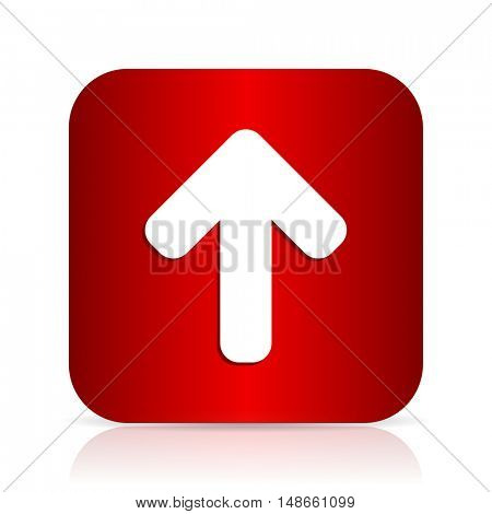 up arrow red square modern design icon