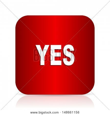 yes red square modern design icon