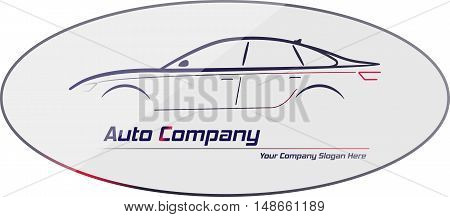 Silhouette of car with red and white headlights on gray background. Vector illustration. City sedan car. Ideal for your business signage.