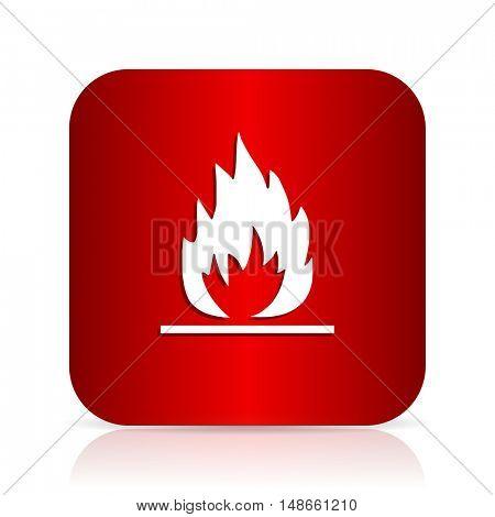 flame red square modern design icon