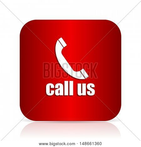 call us red square modern design icon