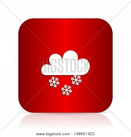 snowing red square modern design icon