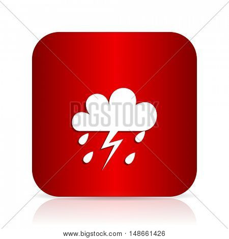 storm red square modern design icon