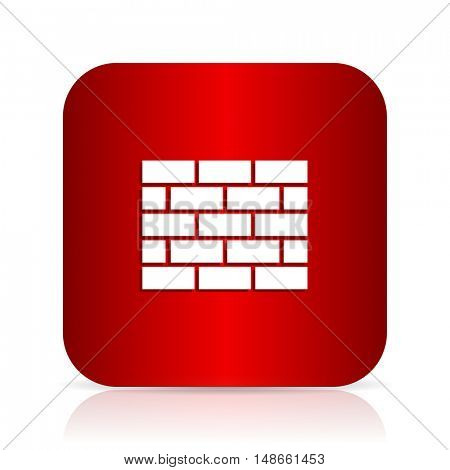 firewall red square modern design icon