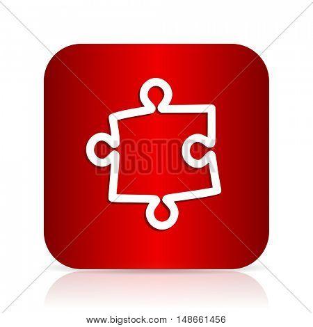 puzzle red square modern design icon