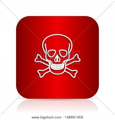 skull red square modern design icon