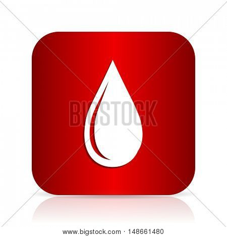 water drop red square modern design icon
