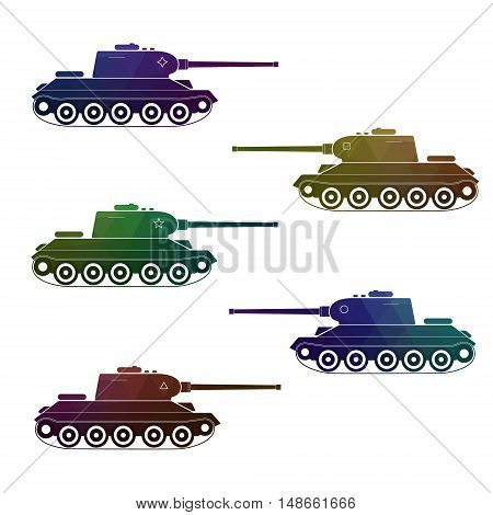 Set of five battle retro multicolor tanks. Modern vector illustration. Camouflage red blue khaki green purple and brown colors.