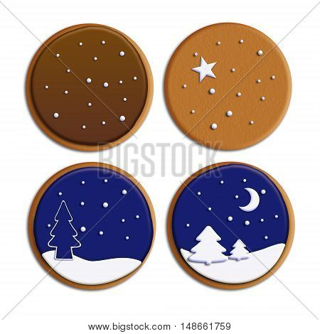 Christmas cookies isolated on white background. Raster illustration of a biscuit with artistic decoration