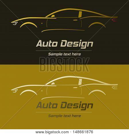 Abstract car design concept automotive topics vector logo design template. Auto gold Company Logo Vector Design Concept with black and gold background.
