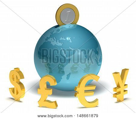 Globe with coins and currency symbols 3D