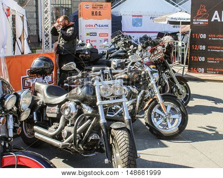 St. Petersburg, Russia - 12 August, Motorcycles supplied in a row,12 August, 2016. The annual International Festival of Motor Harley Davidson in St. Petersburg Ostrovsky Square.