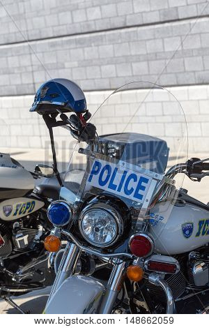 York PA - September 23 2016: York City Police motorcycles parked at the Harley-Davidson annual open house factory tour.