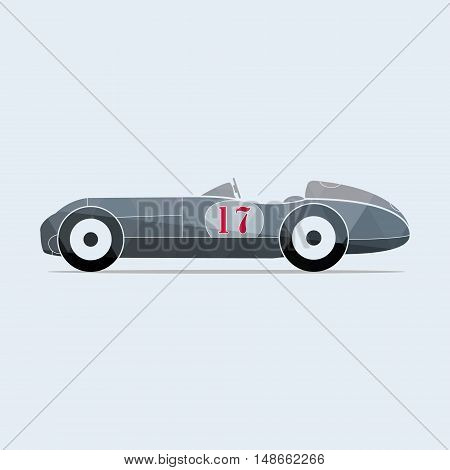 Vintage vector sport racing car with the number seventeen. Vector illustration.