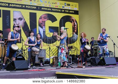 St. Petersburg, Russia - 13 August, Folk artist of folk music.Folk artist of folk music,13 August, 2016. Africa and the Russian Culture Festival on Krestovsky Island in St. Petersburg.