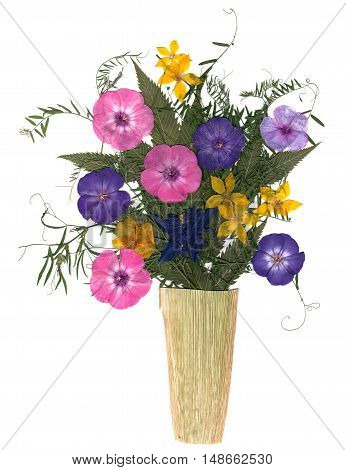 Bouquet In A Vase Of Dry Flowers