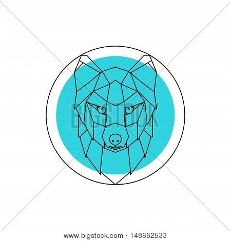 Arctic fox head logo. Blue and white background. Vector design template elements for your application or corporate identity.