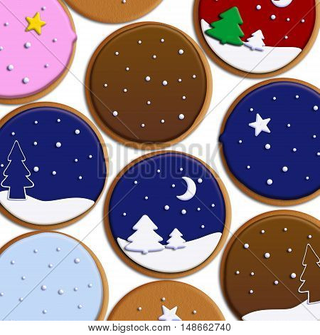 Christmas cookies isolated on white background. Raster illustration of a biscuit with artistic decoration. Flat lay