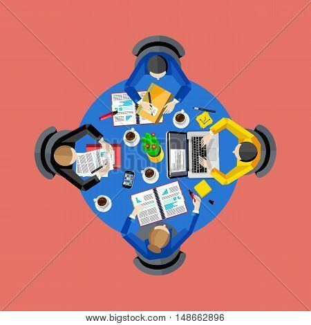 Teamwork concept with space for text. Workspace background, vector illustration. Top view of group of four people working at round office desk. Business workplace. Collaboration and partnership