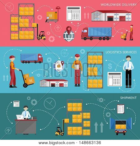 Logistic and warehouse infographics. Worldwide delivery process. Shipment on warehouse. Distribution goods and shipment of goods in container. Logistic service process flat vector illustration