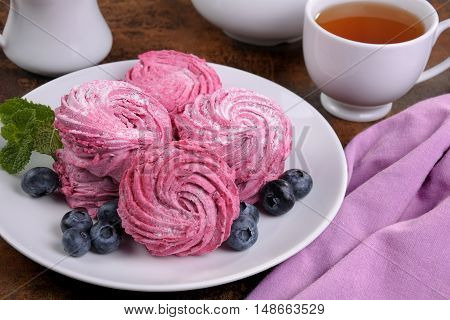 Homemade berry marshmallow (Zephyr) on a plate