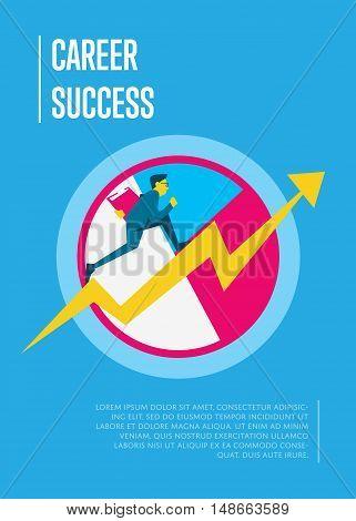 Career success banner with businessman running on arrow graph, isolated vector illustration on blue background. Confident businessman walking up the career stairs. Concept of walking to success.