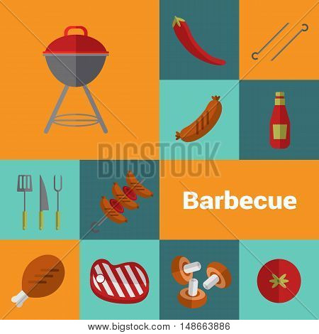 BBQ vector illustration. Barbecue grill icons set, Charcoal kettle grill, skewer of grilled sausage, ketchup, mushrooms, tomato, pepper, steak and grill tools on color background. Design elements. BBQ grill icons. Kettle icon