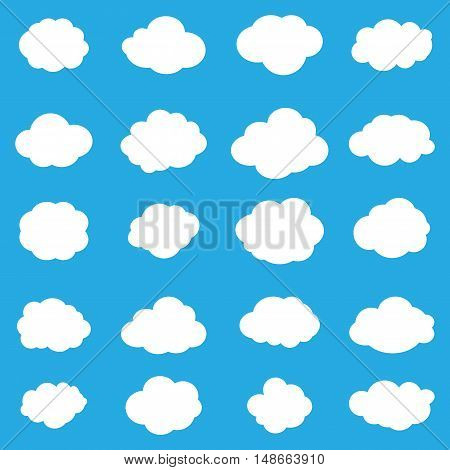 Set of flat clouds. Cloud icon, cloud shape. Set of different clouds. Collection of cloud icon, shape, label, symbol. Graphic element vector. Flat Vector design element for logo, web and print.