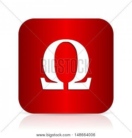 omega red square modern design icon