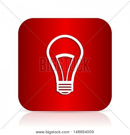 bulb red square modern design icon