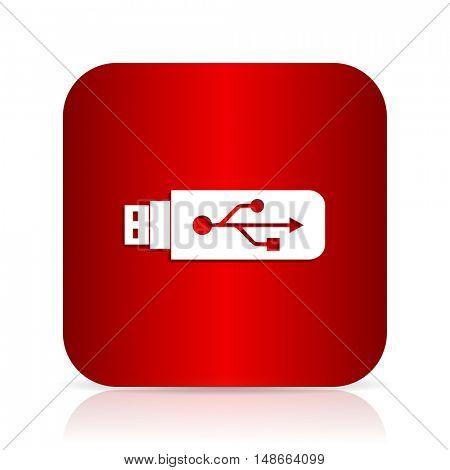 usb red square modern design icon